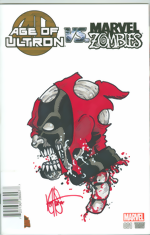 Age Of Ultron vs. Marvel Zombies_1_signed and remarked with a Deadpool head sketch by Ken Haeser