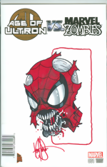 Age Of Ultron vs. Marvel Zombies_1_signed and remarked with a Spider-Man head sketch by Ken Haeser
