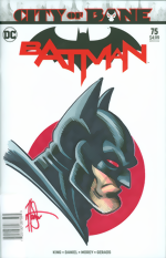 Batman_75_signed and remarked with a Batman head sketch by Ken Haeser