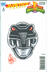 Justice League_Mighty Morphin Power Rangers_1_Limited Edition Blank Get-A-Sketch Edition Variant_signed & remarked by Ken Haeser with a Black Power Ranger