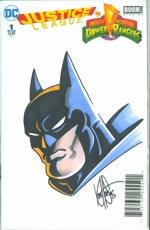Justice League and Mighty Morphin Power Rangers_1_Limited Blank Get-A-Sketch Edition Variant_signed and remarked by Ken Haeser with a Batman head